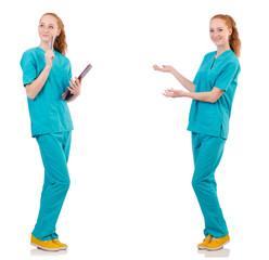 Careful nurse isolated on white