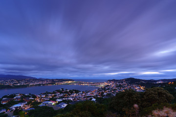 Beautiful scenery from Mount Victoria lookout at dusk in Wellington , capital of New Zealand , North Island of New Zealand