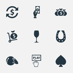 Vector Illustration Set Of Simple Casino Icons. Elements Click, Door Decoration, Money Sack And Other Synonyms Coin, Shoe And Drink.