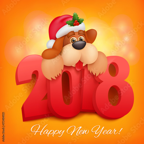 2018 Happy New Year Greeting Card. Celebration Background With Funny Dog  Character