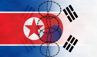 Flags of North and South Korea separated by the barbed wire