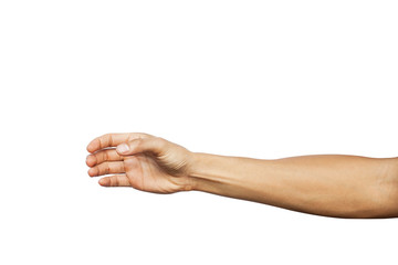 Hand show holding something like a bottle isolated on white background. Clipping path included Wall mural