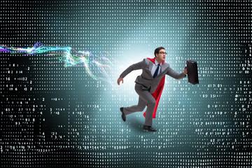 Businessman running towards digital achievements