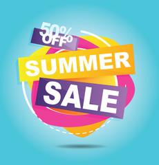 Big grand mega Summer sale banner. Vector illustration.