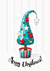 Seasonal motive, abstract christmas tree with stars, pearls and text Merry Christmas, vector illustration