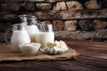 Printed roller blinds Dairy products milk products. tasty healthy dairy products on a table on. sour cream in a bowl, cottage cheese bowl, cream in a a bank and milk jar, glass bottle and in a glass