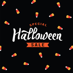 Special Halloween Sale Text With Candy Corn Background Over Black, Vector