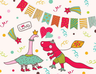 Love and dinosaurs! Happy party! Cute postcard.