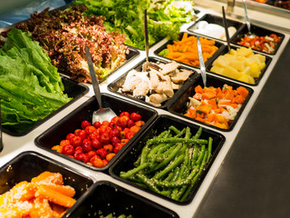 Salad bar with various vegetables