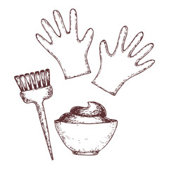 Hair dye tools on white background, sketch illustration. Vector