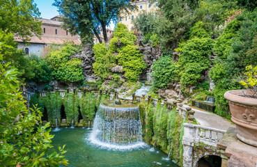 The Oval Fountain in Villa d'Este, Tivoli, Lazio, central Italy.