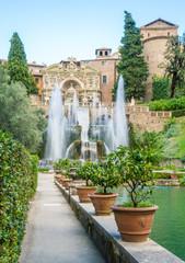 The Fountain of Neptune in Villa d'Este, Tivoli, Lazio, central Italy.
