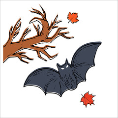 Flying bat, colorful scary Halloween illustration. Vector