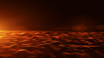 Abstract red digital waves background with light flare