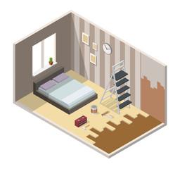 Home repair realistic isometric vector illustration