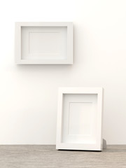 Blank picture frame templates in a living room wall and on table, 3D render