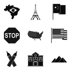 Mapping icons set, simple style