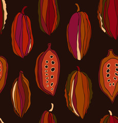 Seamless contrast pattern with cocoa beans. Decorative vector colorful chocolate background