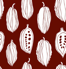 Seamless beauty pattern with cocoa beans. Decorative vector monochrome chocolate background