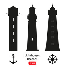 Vector set of isolated silhouettes with lighthouses, beacons and marine symbols