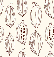 Seamless pattern with cocoa beans. Decorative vector contour chocolate background