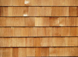 cedar tile panel on the exterior wall