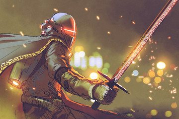 sci-fi character of astro-knight in futuristic armour holding magic sword, digital art style, illustration painting