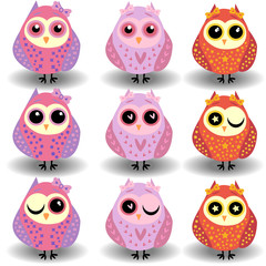 A set of nine lovely owls-girls in red, pink tones in sprockets, hearts, circles with bows on ears and different eyes