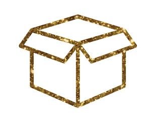 Vector golden glitter delivery shipping box line icon