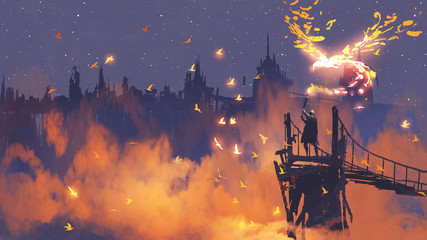 man in cloak holding magic torch against city with orange smoke, digital art style, illustration painting