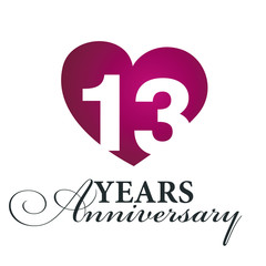 13 years anniversary white background