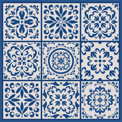 Portuguese tiles with azulejo ornaments