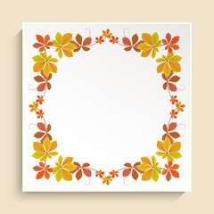 Square frame with autumn leaves border