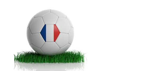 France flag and football, white background. 3d illustration