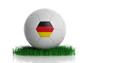 Germany flag and football, white background. 3d illustration