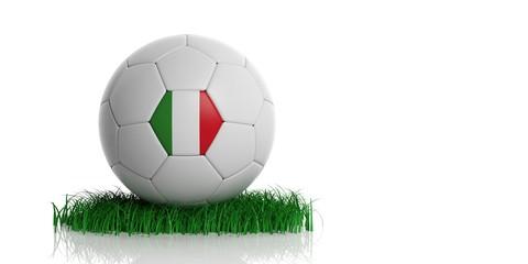 Italy flag and  football, white background. 3d illustration