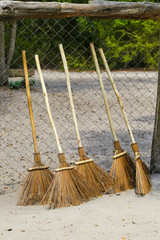 homemade coconut stalks for broom fibres and wooden broomstick. concept go Green. five brooms for street cleaning at the fence