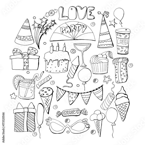 Cute Holiday Illustration Vector Hand Drawn Set Cakes Cupcakes