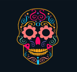 Mexican Skull vector icon ornament with flower eyes