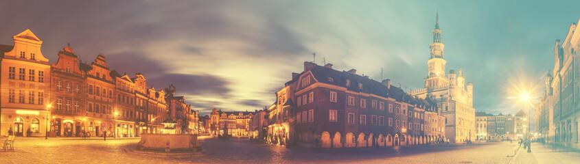 evening panorama of Poznan,retro,vintage style Fototapete