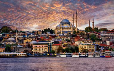 Istanbul city on dramatic sunset, Turkey