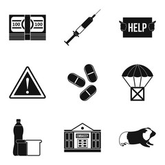 Accident icons set, simple style