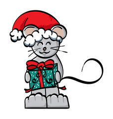 Cartoon Mouse holding a present and wearing a Santa Hat