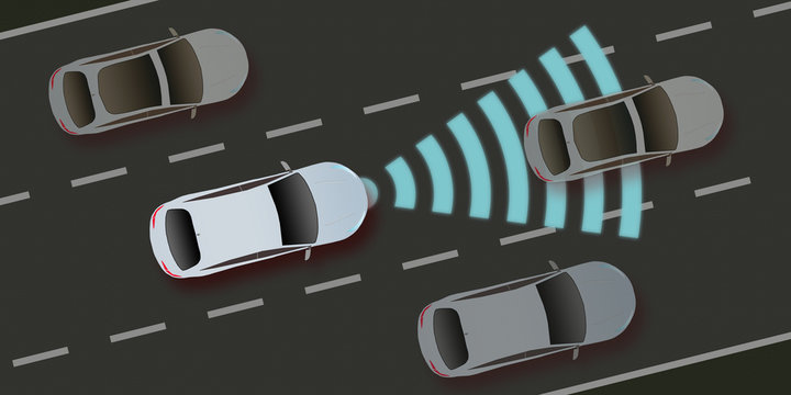 adi42 AutonomousDrivingIllustration - autonomous car and self-driving vehicle - driver assistance system - ACC (Adaptive Cruise Control) - collision avoidance system - 2to1 g5532