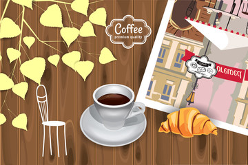Cup of Coffee morning, concept on wooden background, baking croissant, autumn leaves, top view, vector, banner, illustration