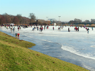 Skating on an ice rink in the Netherlands