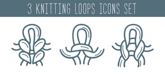 Knitting and needlework icon set