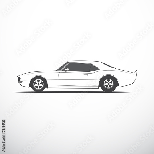 Vector American Muscle Car Side View Stock Image And Royalty Free
