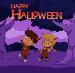 Halloween background with kids trick or treating in Halloween costume.Vector and illustration.