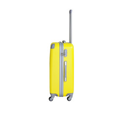 Yellow suitcase isolated on white background. Polycarbonate suitcase isolated on white. Yellow suitcase.